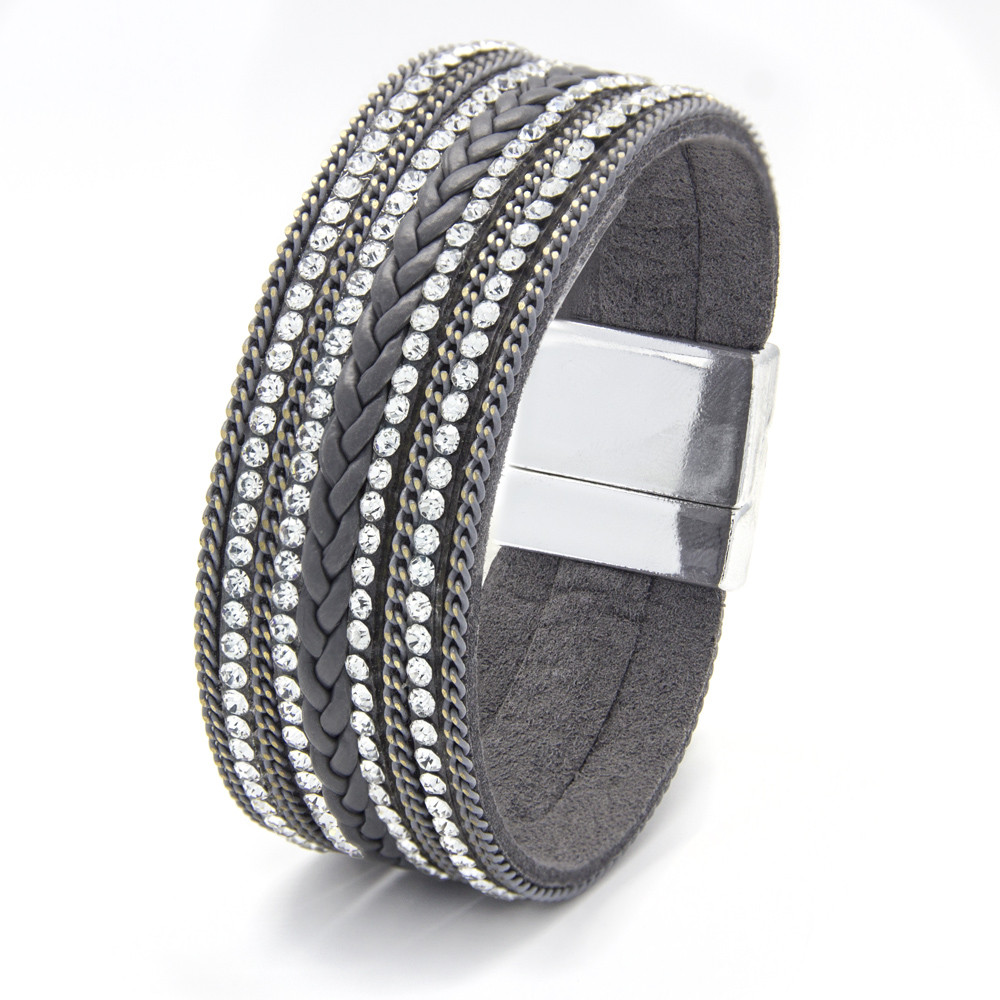 silver-tone-grey-leatherette-magnetic-bangle-with-braid-design-and-clear-crystals