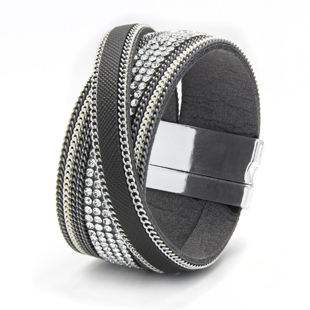 silver-tone-grey-leatherette-magnetic-bangle-with-crossover-strap-and-clear-crystals