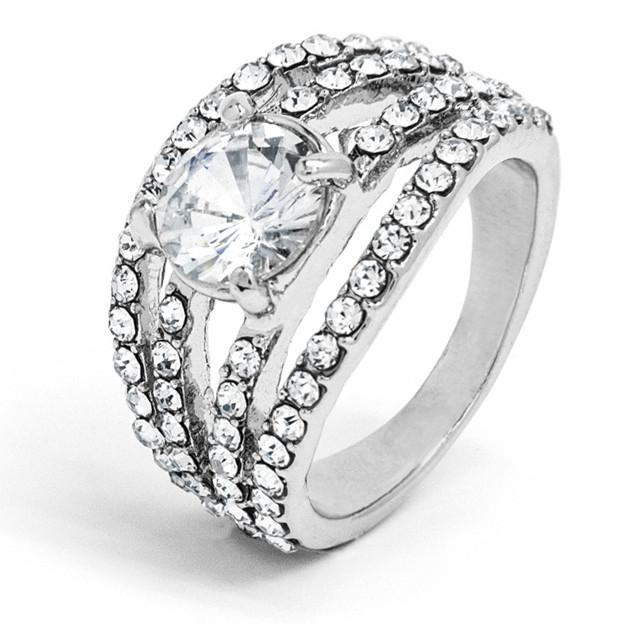 silver-tone-multi-crystal-strand-ring-with-centre-clear-crystal
